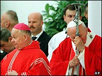 Bishop Kurt Krenn (left) and the Pope in 1998