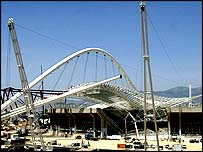One of the arches for the Olympic roof has been put in place
