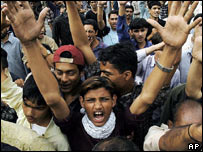 Shia Muslims chant anti-government slogans during a Sialkot protest rally, Pakistan