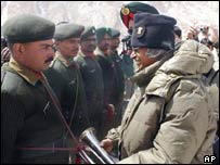 India's president inspects troops stationed on the Siachen glacier in Kashmir