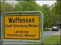 Sign for Waffensen in Germany, AP