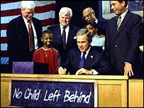 George Bush signing his act into law