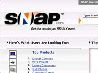 Screengrab of Snap search site