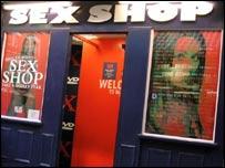 Vitrina de una sex shop