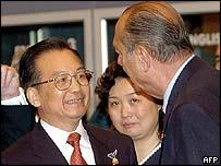 Jacques Chirac (right) meets Chinese Premier Wen Jibao