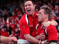 Barry Davies and Matthew Watkins celebrate for the Scarlets