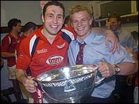 Stephen Jones and Dwayne Peel celebrate with the Celtic League trophy