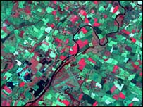 River Trent from space (image modelled by Keith Challis)