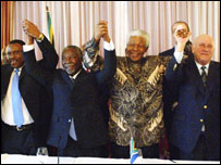 The SA delegation in Zurich included President Mbeki (second from left), Mandela and apartheid president FW de Klerk