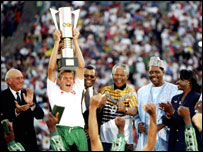 Neil Tovey holds aloft Nations Cup in 1996