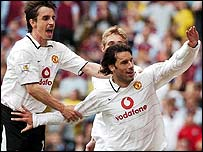Manchester United striker Ruud van Nistelrooy celebrates his goal