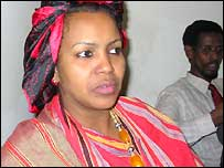 Somali MP Amina Ahmed Mursal with warlord Mahmood Said in the background