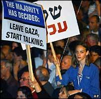 Israelis demonstrate in support of Israeli Prime Minister Ariel Sharon's Gaza plan