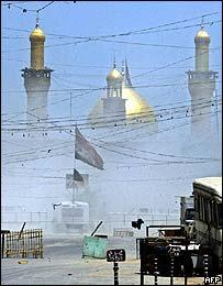 Smoke covers Imam Hussein site
