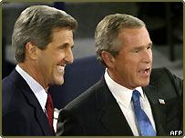 John Kerry and George W Bush in St Louis debate