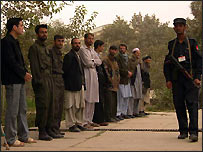 Voters queue outside Kabul polling station