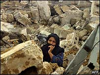 Woman amongst the ruins in Gaza