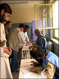 Voting at Abdul Hadi Dai school in Macrorayon, Kabul