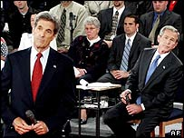 John Kerry and George W Bush listening to a question
