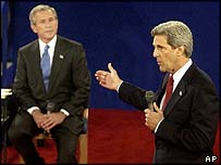 John Kerry gestures at George W Bush during their second debate