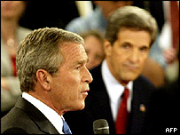 George Bush and John Kerry