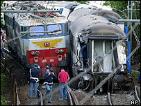 Train crash scene