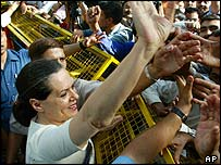 Sonia Gandhi waves to Congress supporters