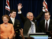 Australian Prime Minister John Howard acknowledges his win, 9 Oct 2004