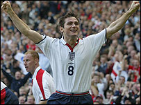 Frank Lampard celebrates as England take a fourth-minute lead