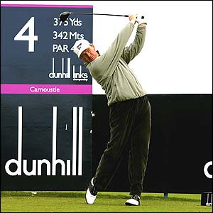 Ernie Els tees off the fourth hole