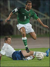 Northern Ireland's Jeff Whitley hurdles a challenge during the 0-0 draw in Azerbaijan