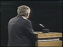 US President George W Bush during the first debate with Senator John Kerry on 30 September