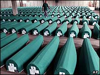 Morgue containing bodies of victims of the Srebrenica massacre