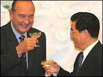 Jacques Chirac with Hu Jintao in Beijing