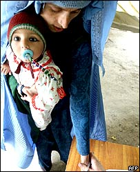Afghan woman with child