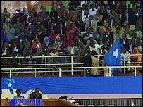 Kenyan television shows delegates and other Somalis inside the stadium