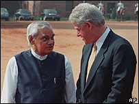 Former US president Bill Clinton (right) meets former Indian PM Atal Behari Vajpayee in India in 2000