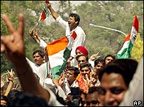 Congress Party supporters celebrate election victory