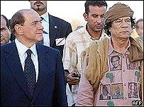 Italian Prime Minister Silvio Berlusconi and Colonel Gaddafi