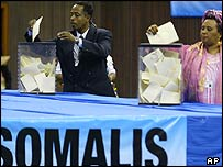Voting takes place in a Nairobi sports stadium for Somalia's new president