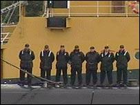 Crew members approach Faslane