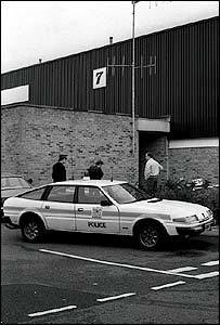 Police outside the Brinks Mat security warehouse in 1983