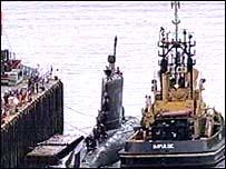 HMCS Chicoutimi docks at Faslane