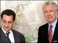 European Union Commissioner for Competition Mario Monti, right, with French Finance Minister Nicolas Sarkozy