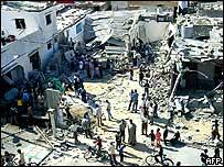 Damage to a house blown apart in the Jabaliya camp