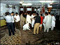 View inside the mosque after the blast