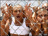 File photo from 2001 of gang members in a Honduran jail