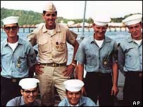 John Kerry and crewmates during the Vietnam War