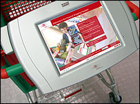 A computerised Personal Shopping Assistant on the trolley helps with the shopping