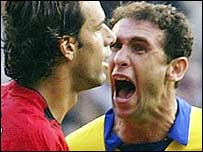 Martin Keown squares up to Ruud van Nistelrooy